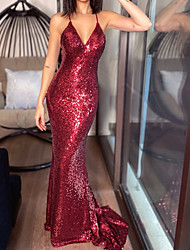 cheap -Mermaid / Trumpet Beautiful Back Sexy Wedding Guest Formal Evening Dress V Neck Sleeveless Sweep / Brush Train Sequined with Sleek Sequin 2021