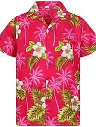 cheap -funky hawaiian shirt, white flower, pink, s