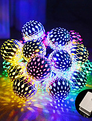 cheap -DIY Moroccan Ball Multicolor Strip Lamp 10M 100LED 8 Mode Waterproof Globe Fairy String Lights Solar Powered Orb Lantern Christmas Lighting for Outdoor Garden Patio Xmas Tree Party AC220V AC110V