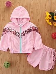 cheap -Toddler Girls' Clothing Set Solid Colored Long Sleeve Cotton Casual Blushing Pink Basic Regular Regular