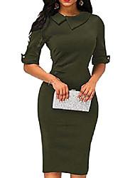 cheap -women's retro bodycon below knee formal office dress pencil dress with back zipper (army green, l)