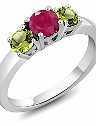cheap -1.15 ct round red ruby green peridot 925 sterling silver ring (size 6)