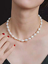 cheap -9-10 mm white freshwater cultured baroque pearl necklace 18""