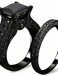 cheap -black princess cut two-in-one wedding engagement proposal anniversary bridal ring set (black, 7)