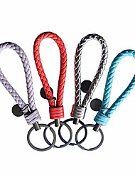 cheap -keychain 4/pack handwoven genuine leather key chain hooks with alloy key rings for car key