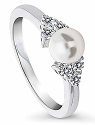 cheap -rhodium plated sterling silver white round imitation pearl solitaire promise ring size 4