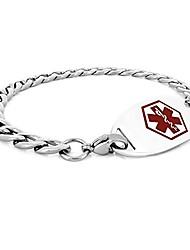 cheap -mens womens stainless steel medical id bracelet with red enamel medical tag - 8.5in (cs-red1)