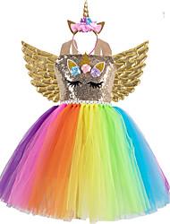 cheap -Unicorn Cosplay Costume Costume Girls' Movie Cosplay Retro Tutus Golden / Rainbow Dress Wings Headwear Christmas Halloween Carnival Polyester / Cotton Polyester
