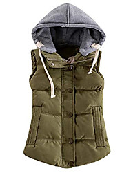 cheap -women sleeveless removed hooded slim winter quilted puffer vest coat army green xxs