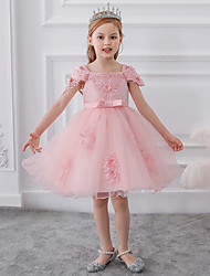 cheap -Kids Little Girls' Dress Floral Patchwork Mesh Bow Blue Red Blushing Pink Above Knee Sleeveless Cute Dresses Regular Fit