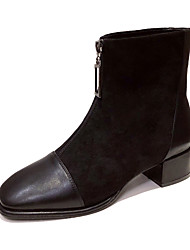 cheap -Women's Boots Chunky Heel Square Toe Booties Ankle Boots Classic Daily Leather Solid Colored Black / Booties / Ankle Boots