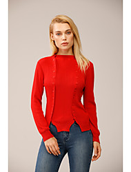cheap -Women's Knitted Button Solid Color Pullover Acrylic Fibers Long Sleeve Sweater Cardigans Turtleneck Fall Winter Red