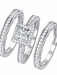 cheap -women's engagement rings wedding ring set 925 sterling silver princess white cz size 6.5