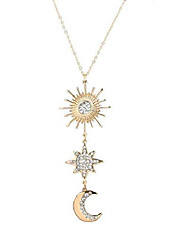 cheap -sun star crescent moon pendant necklace boho long sweater necklace rhinestone crystal celestial necklace for women girls(sliver)