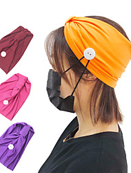 cheap -Buttons Headband for Nurses or Doctor Womens Mens Yoga Sports Workout Turban Headwrap Face Cover Holder Suit for Everyone Protect Your Ears (25 x 14 cm, 1 packs)