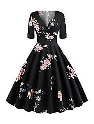 cheap -babyonlinedress women vintage retro festive dress swing rockabilly ball gown elegant floral casual dress knee length size l