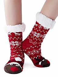 cheap -ladies cuddly socks christmas socks christmas warm fluffy knitted socks hut socks winter socks with anti-slip nubs