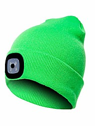 cheap -led beanie hat with light,usb rechargeable light up hat with adjustable brightness,ultra soft material(fluorescent green)