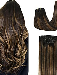 cheap -googoo 18inch clip in human hair extensions natural black to light brown balayage hair extensions clip in remy hair extensions natural straight double weft 7pcs/120g