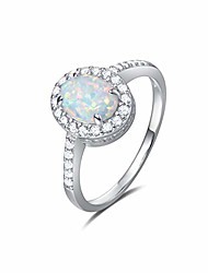 cheap -opalmaster 925 sterling silver white created opal oval rings gold plated dainty engagement rings for women, size 7