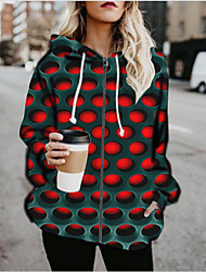 cheap -Women's Pullover Hoodie Sweatshirt Graphic 3D Print Daily Going out 3D Print Basic Hoodies Sweatshirts  Red