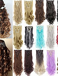 cheap -8pcs 18 clips curly full head clip in hair extensions one piece thick clip on synthetic hair extension wavy hairpieces for women fashion and beauty 17-24 inch
