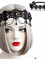 cheap -halloween retro rose queen hair band gothic crown queen headdress accessories (black pearl lace lolita)