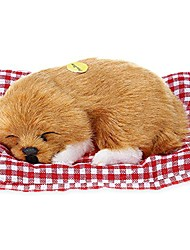 cheap -huggable puppy dog pet bed, vivid simulation plush sleeping dogs doll toy with sound kids toy birthday gift doll decor stuffed puppies toys bedroom decor toys for kids boys girls (brown)