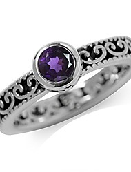 cheap -natural african amethyst 925 sterling silver stack stackable filigree ring size 4
