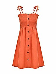 cheap -burfly women's button down low cut sundress, suspender sling swing dress, casual summer beach pleated shirt dress for ladies teenage girls, ideal for holiday, travel, party orange
