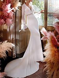 cheap -Sheath / Column Wedding Dresses V Neck Chapel Train Chiffon Lace Long Sleeve Country Simple Beach with 2021