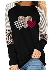 cheap -Women's Stylish Heart shape Striped Leopard Women's Hoodies Long Sleeve Sweater Cardigans Crew Neck Spring Fall Black Khaki Navy Blue