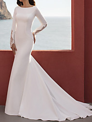 cheap -Mermaid / Trumpet Wedding Dresses Jewel Neck Court Train Lace Stretch Satin Long Sleeve Simple Beach with 2021