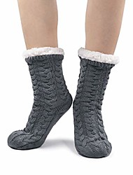 cheap -1 pair of cuddly socks with abs sole warm ladies' hut socks with teddy fur funny animals colorful winter socks thick house socks