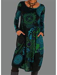 cheap -Women's T Shirt Dress Tee Dress Short Mini Dress - Long Sleeve Color Block Print Fall Winter Casual Loose 2020 Blue Purple S M L XL XXL
