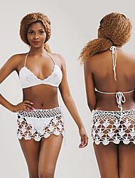 cheap -Women's Sexy Tankini Swimsuit Lace up Cut Out Normal Swimwear Bathing Suits White / Bikini