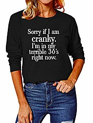 cheap -women's sorry if i am cranky i am in my terrible 30's shirt tops casual long sleeve graphic tee blouse for women black