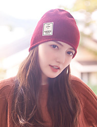 cheap -Women's Hiking Cap 1 PCS Winter Outdoor Warm Soft Thick Skull Cap Beanie Solid Color Orlon White Black Red for Climbing Camping / Hiking / Caving Traveling