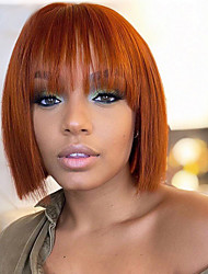 cheap -Human Hair 100% Hand Tied Wig Neat Bang With Bangs style Brazilian Hair Silky Straight Blonde Light Brown Wig 150% Density Women Medium Size Natural Hairline For Black Women Women's Medium Length