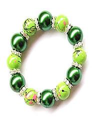 cheap -art glass pearl beads rhinestones spacers stretch bracelet, pear green