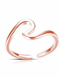 cheap -simple open adjustable wave rings,vsco midi rings for women teen girls ocean lovers (rose gold)