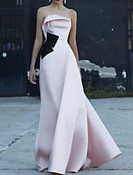 cheap -A-Line Minimalist Sexy Engagement Formal Evening Dress Strapless Sleeveless Floor Length Satin with Sleek 2020