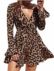 cheap -toamen women casual dress leopard print v neck bandage long flare sleeve beach holiday party mini dress (brown , 12)
