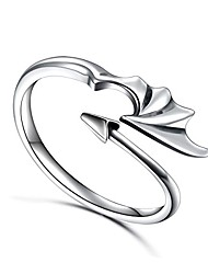 cheap -sterling silver dragon ring devil tail arrows adjustable open ring,oxidized size 8