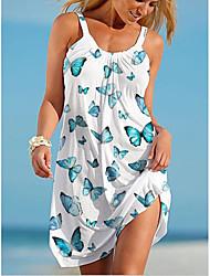 cheap -Women's Strap Dress Short Mini Dress White Purple Green Sleeveless Butterfly Animal Print Summer V Neck Casual 2021 S M L XL XXL