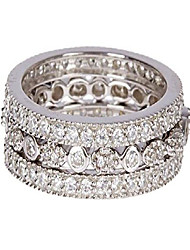 cheap -sterling silver three row cz band ring size : 8