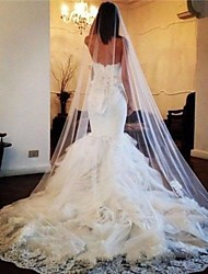 cheap -One-tier Lace Wedding Veil Cathedral Veils with Trim POLY / 100% Polyester