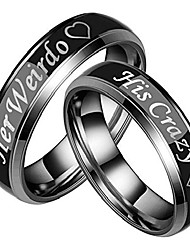 """cheap -1pc his&her 6mm couple ring, stainless steel black""""her weirdo"""" and""""his crazy"""" ring men size 8"""