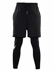 cheap -men's 2-in-1 sports shorts gym fitness running workout short pants m-xxxl - black, xxxl