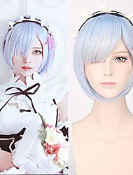 cheap -blue short bob rem cosplay wig synthetic anime hair party wig re zero starting life in another world